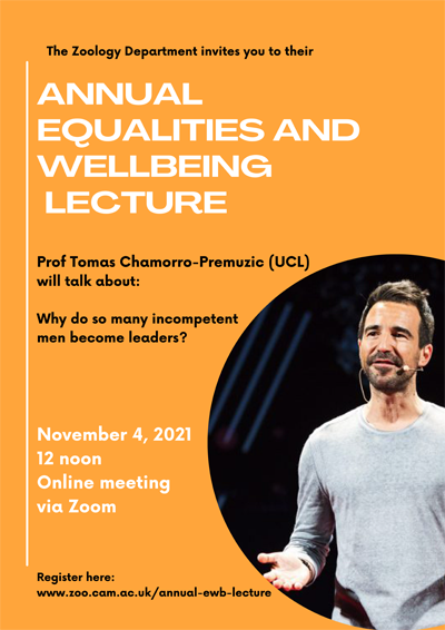 Advertising poster for the ewb lecture with picture of the speaker