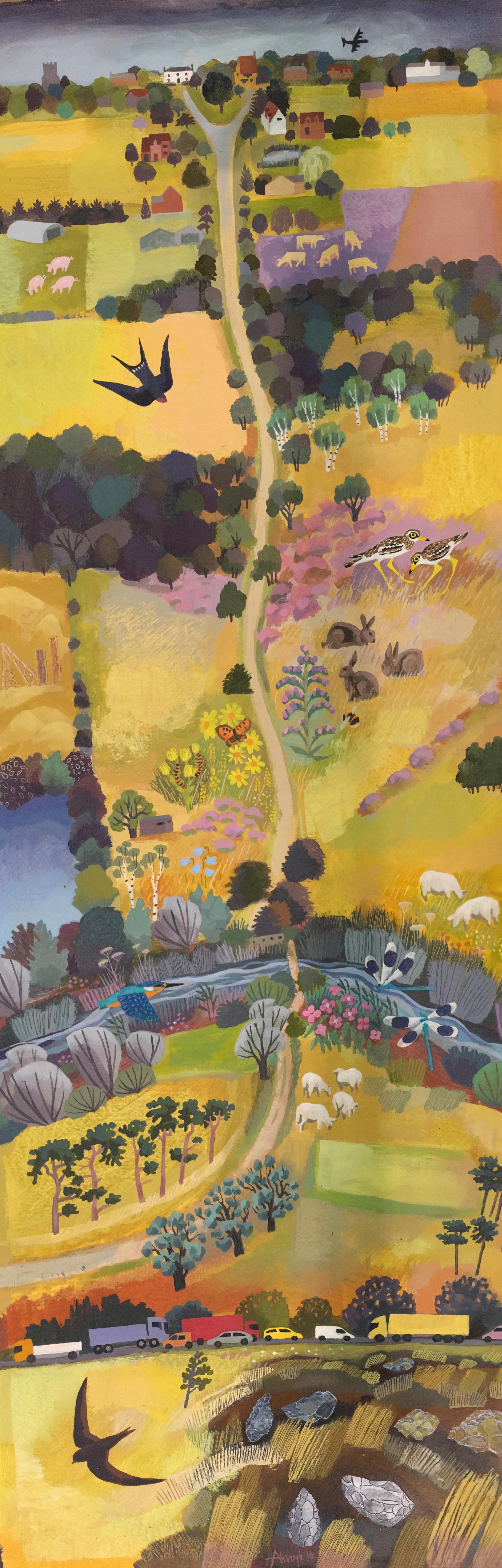 Painting of Icknield Way cutting across Cavenham heath
