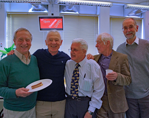 John Johnson, second from the left, and colleagues at the the Xmas Party in 2017