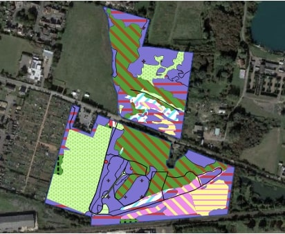 Screenshot from QGIS of UKHab habitat polygons and lines at Lattersey Nature Reserve, Cambridgeshire. Background satellite image from Google Maps.