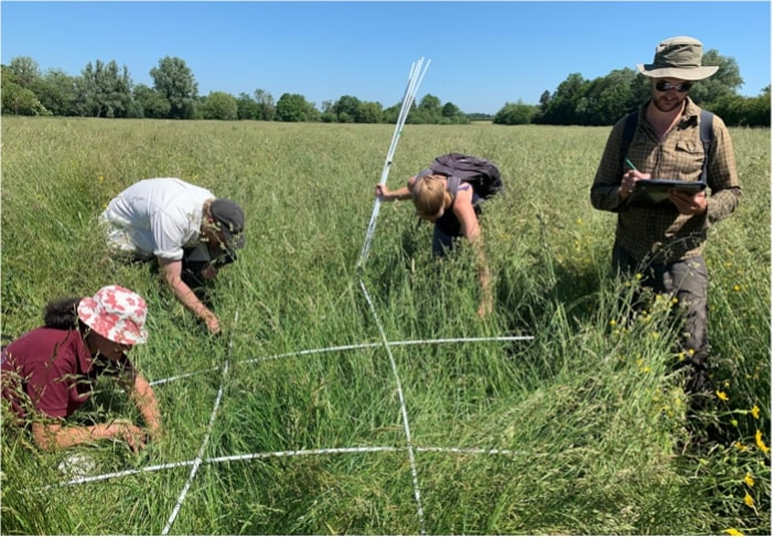 Group photo of myself and Wildlife Trust staff carrying out vegetation surveys at Trumpington Meadows Reserve, Cambridgeshire. Photo taken by Becky Green for The Wildlife Trust BCN.