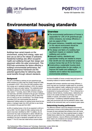 A screenshot of the first page of my POSTnote briefing on environmental housing standards