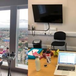 My desk and view whilst quarantining in Pekanbaru (Left) versus my current work set-up in Cambridge, UK (Right).