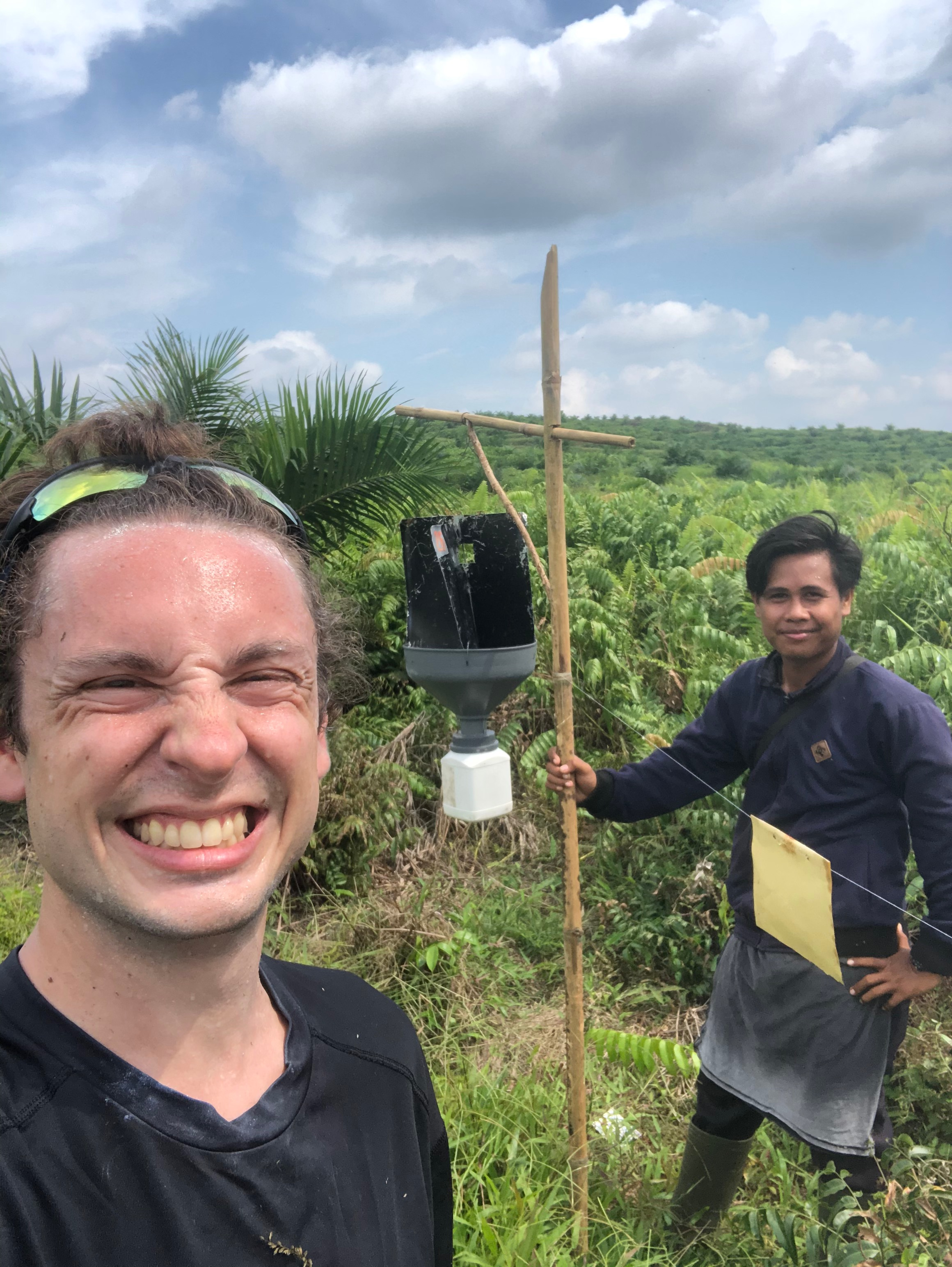 Yan and me collecting the final sticky trap of my PhD. In total, we have set more than 1000 of these traps.