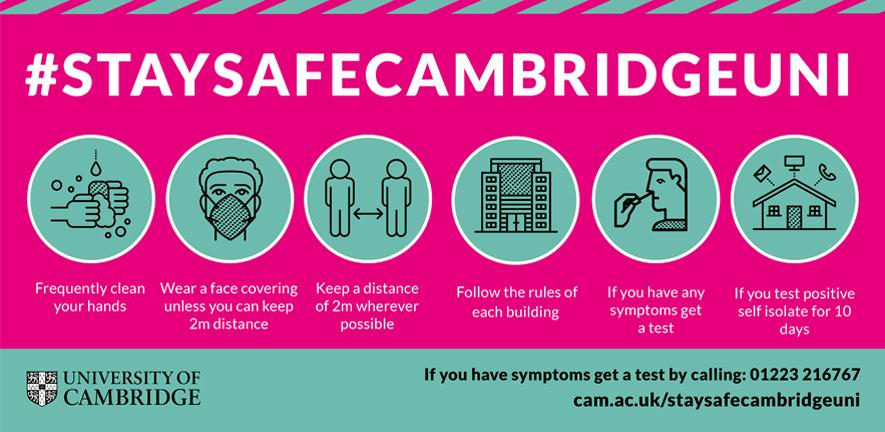 Stay safe messages for Cambridge University