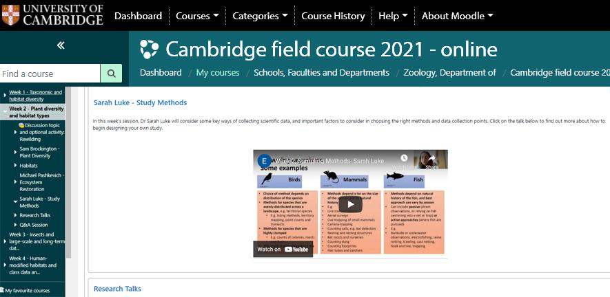 Screen shot of virtual learning environment field course