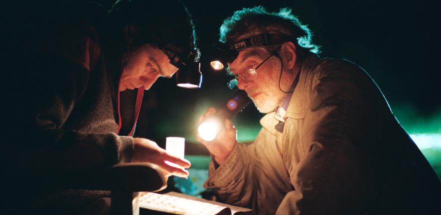 Roger Northfield and colleague checking a moth trap